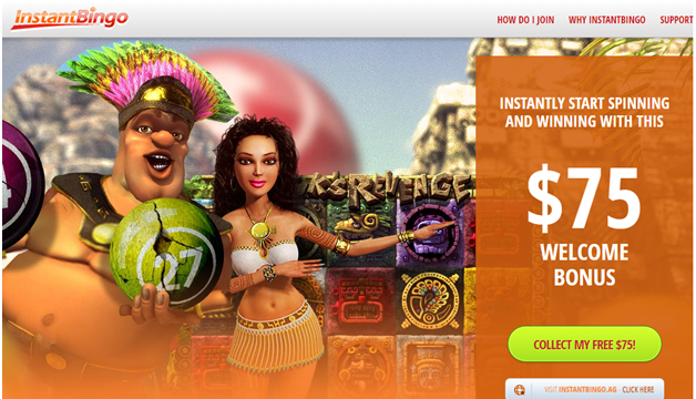 Instant Bingo $75 free no deposit bonus