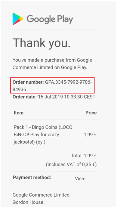 Loco Bingo purchases